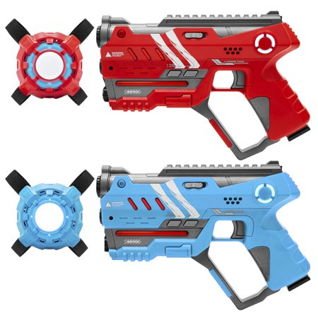 Best Choice Products Set of 2 Multiplayer Infrared Blaster Tag Toy Guns and Vests w/ Sound Effects, Backwards Compatible - Red/Blue (The Best Halloween Sound Effects)