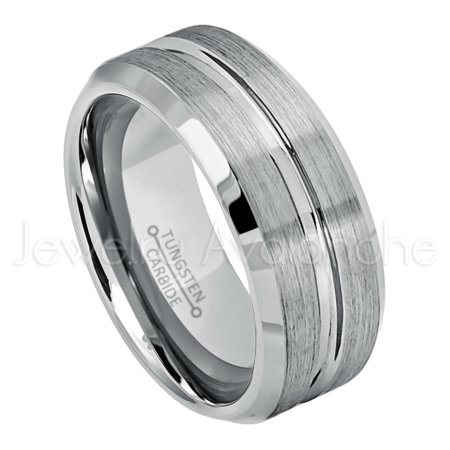 9mm Grooved Tungsten Wedding Band - Brushed Finish Comfort Fit Beveled Edge Tungsten Carbide Ring - Tungsten Anniversary - Brushed Finish Beveled Edges