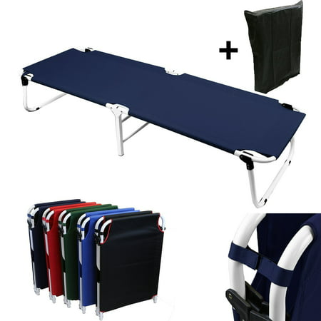 Magshion Portable Military Fold Up Camping Bed Cot + Free Storage Bag Navy