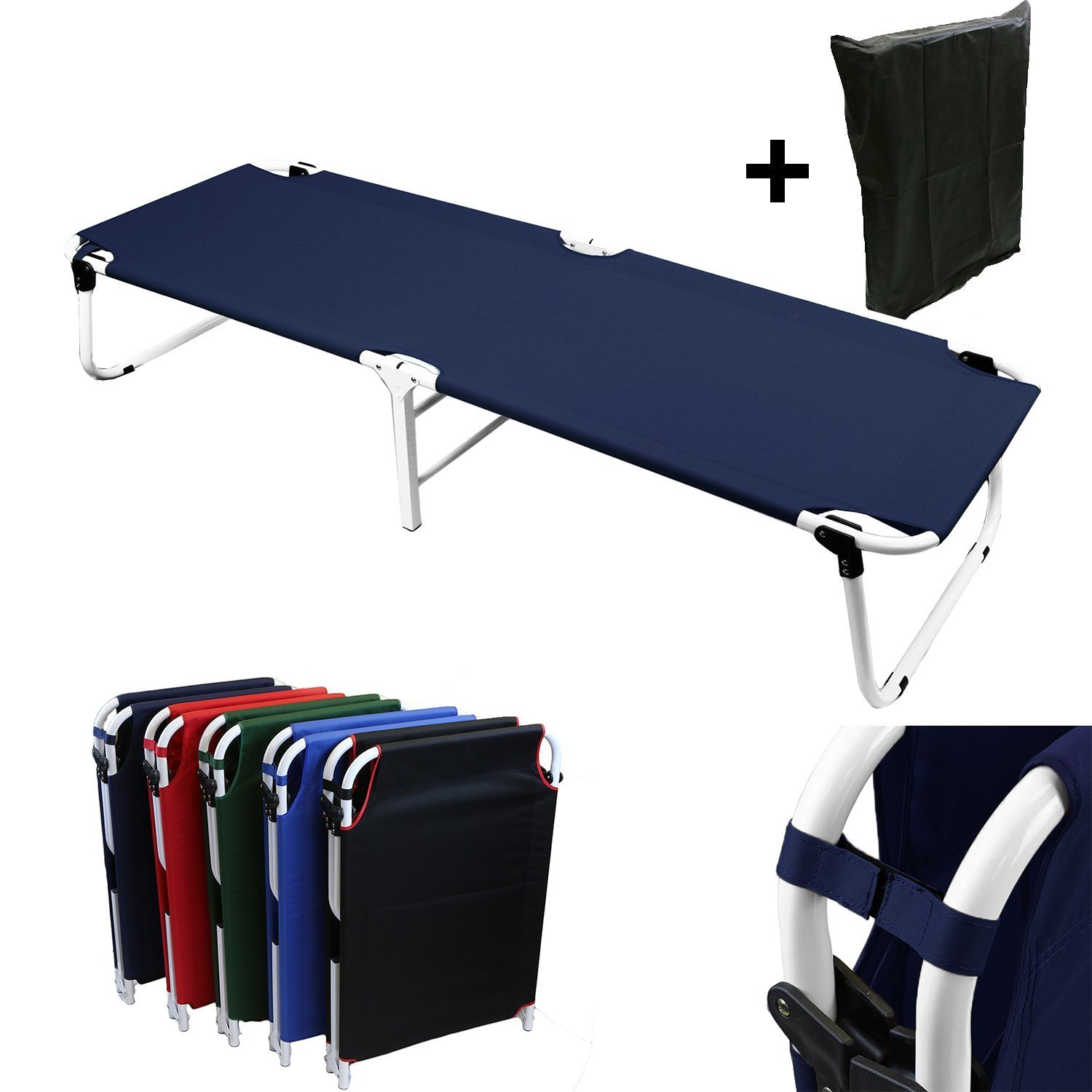 Magshion Portable Military Fold Up Camping Bed Cot + Free Storage Bag Navy Blue
