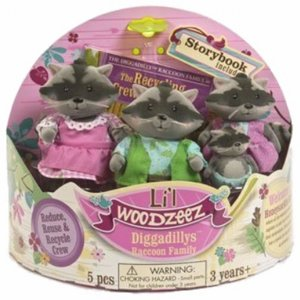 Lil Woodzeez Recycling Crew Diggadillys Raccoon Family Mini Plush Pals