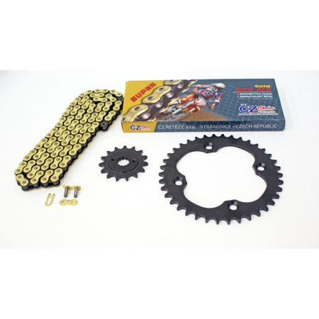 - 2009 2010 Suzuki LTR450 450 QuadRacer CZ Gold MX Chain & Black Sprocket 15/38