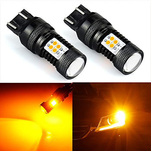 JDM ASTAR Extremely Bright 3000 Lumens High Power 7440 7441 7443 7444 992 LED Bulbs with Projector,Amber Yellow