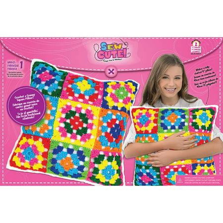 Sew Cute Crochet Granny Squares Pillow