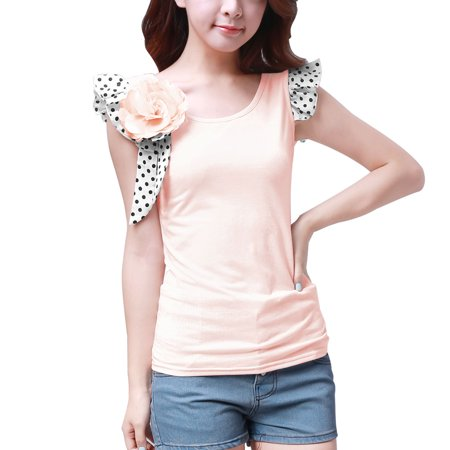 5166 Dots Print Cap Sleeve White Scoop Neck Shirt W Brooch For Women