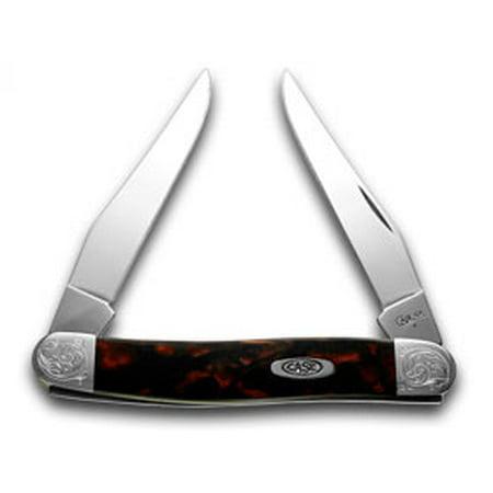 CASE XX Engraved Bolster Series Black Lava Scrolled Muskrat Pocket Knife Knives](Engraved Pocket Knives)