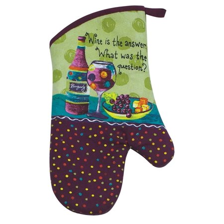 Designs Cotton Oven Mitt, Wine Is The Answer, Bright and fun wine print oven mitt offers protection from hot pot and pan handles to 200 degrees By Kay Dee Ship