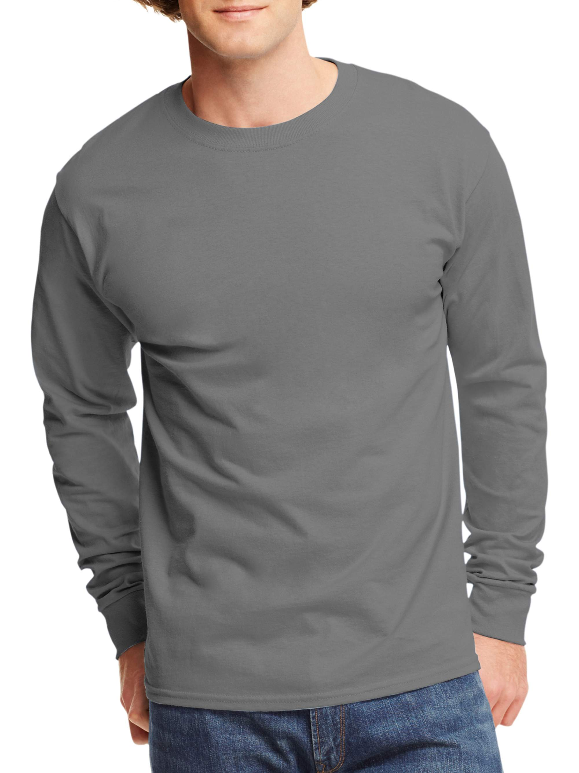 e2ca3bba4d4 Hanes - Mens Tagless Cotton Crew Neck Long-Sleeve Tshirt - Walmart.com