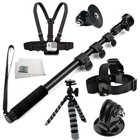 Sse  Accessory Kit For Gopro Hero   Hero4 Session  Hero4  Hero3   Hero3  Hero2  Hero    Hero  Lcd  Includes Sse 48   High Grade Heavy Duty Extendable Handheld Monopod Selfie Stick   Chest Moun
