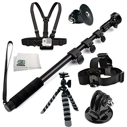 "SSE® Accessory Kit for GoPro HERO+, HERO4 Session, HERO4, HERO3+, HERO3, HERO2, HERO, & HERO+ LCD. Includes SSE 48"" High Grade Heavy Duty Extendable Handheld Monopod Selfie Stick + Chest Moun"