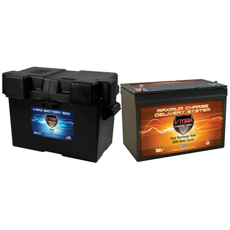 VMAX MR127-100 + Marine Box Deep Cycle Battery Replaces SEARS 50927 12 Volt 100Ah AGM Group 27
