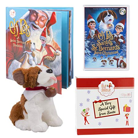 Elf on The Shelf Elf Pets Gift Set - Saint Bernard Plush, Storybook and DVD Movie Santa?s St. Bernards Save Christmas - with Limited Edition Official Gift Box - Ages - Elf On The Shelf Stuffed Animal
