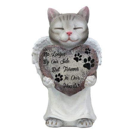 Ebros Celestial Angel Grey Cat In White Tunic Robe Pet Memorial Figurine Inspirational Decorative Feline American Shorthair Cat Kitten Sculpture
