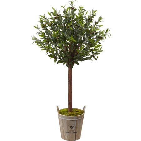 Artificial Barrel - Nearly Natural Olive Topiary Tree with European Barrel Planter