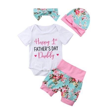 Happy 1st FATHEER'S DAY 4PCS Floral Outfits Newborn Baby Girl Romper Pants Hat Headband Clothes 0-6