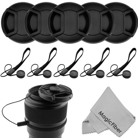 (10 Pcs Bundle) 5 Center Pinch Lens Cap (62mm) and 5 Cap Keeper Leash for Canon, Nikon, Sony and any other DSLR Camera