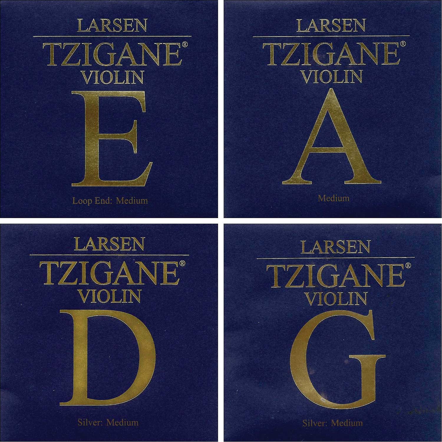 Larsen Tzigane 4 4 Violin String Set Medium Gauge Loop End E by Larsen