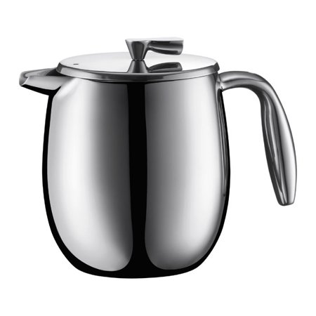 Columbia Stainless Steel Double Wall French Press Coffee Maker, 17 Oz., (Chrome Wall Pot)