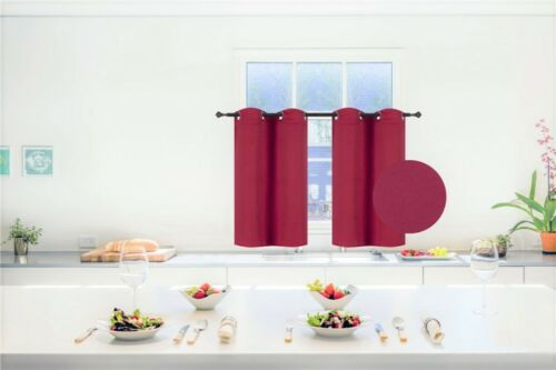 Red Burgundy THICK HEAVY Lined EYELET Curtains 3 Sizes
