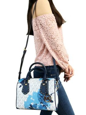 f6310a09dcd4 Product Image NWT Michael Kors Aria Small Top Zip Satchel Crossbody Vanilla  MK Blue Floral