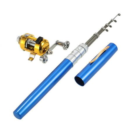 Fishing Rod Reel Combo Kit Set Mini Telescopic Portable Pocket Pen Fishing Rod Pole + Reel Aluminum Alloy Fishing Accessories ()