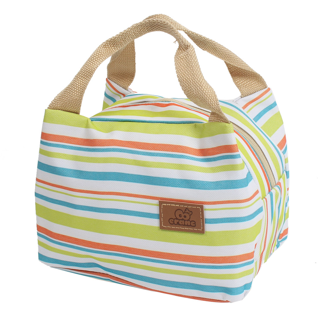 Canvas Zippered Thermal Insulation Cooler Insulated Lunch Tote Bag Multicolor Stripe Green