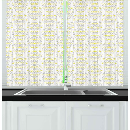 Grey and yellow curtains 2 panels set victorian style - Grey and yellow living room curtains ...