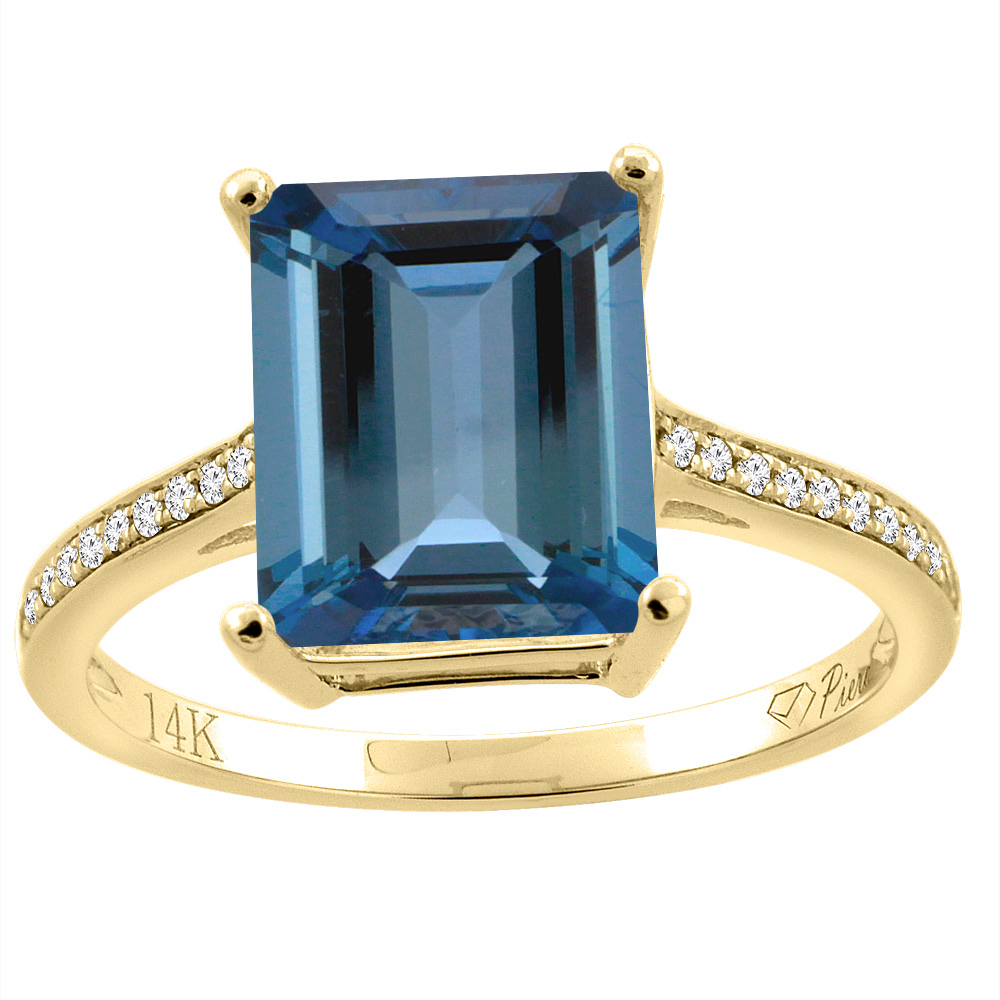 14K Gold Natural London Blue Topaz Ring Octagon 10x8 mm Diamond Accents, sizes 5 10 by WorldJewels