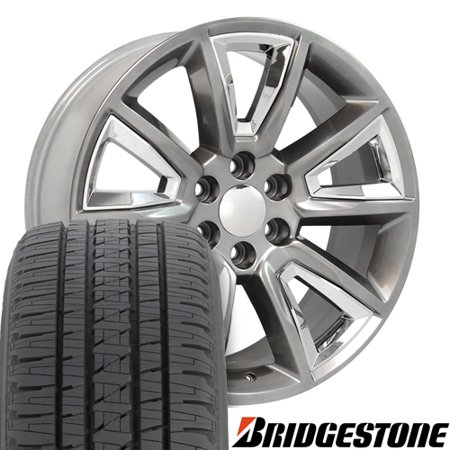 22x9 Wheels Fits GMC Chevy Trucks - Tahoe CV73B Hyper Black with Chrome Bridgestone Tires, Lugs, TPMS SET, Hollander # 5696