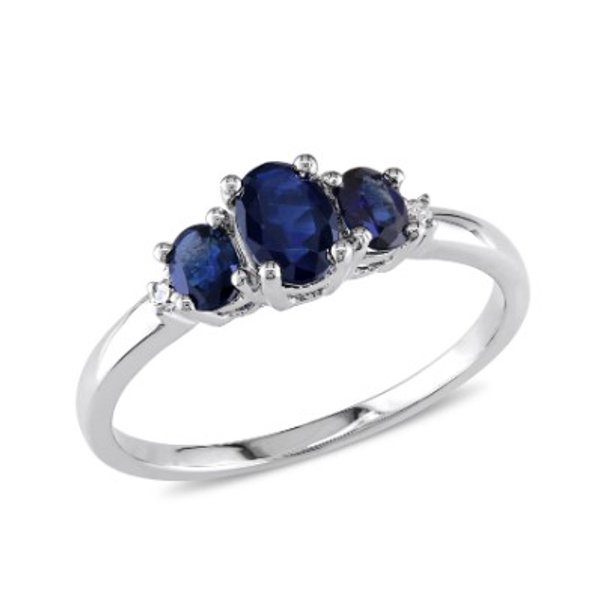 Sapphire and Diamond-Accent 10kt White Gold Three Stone Ring