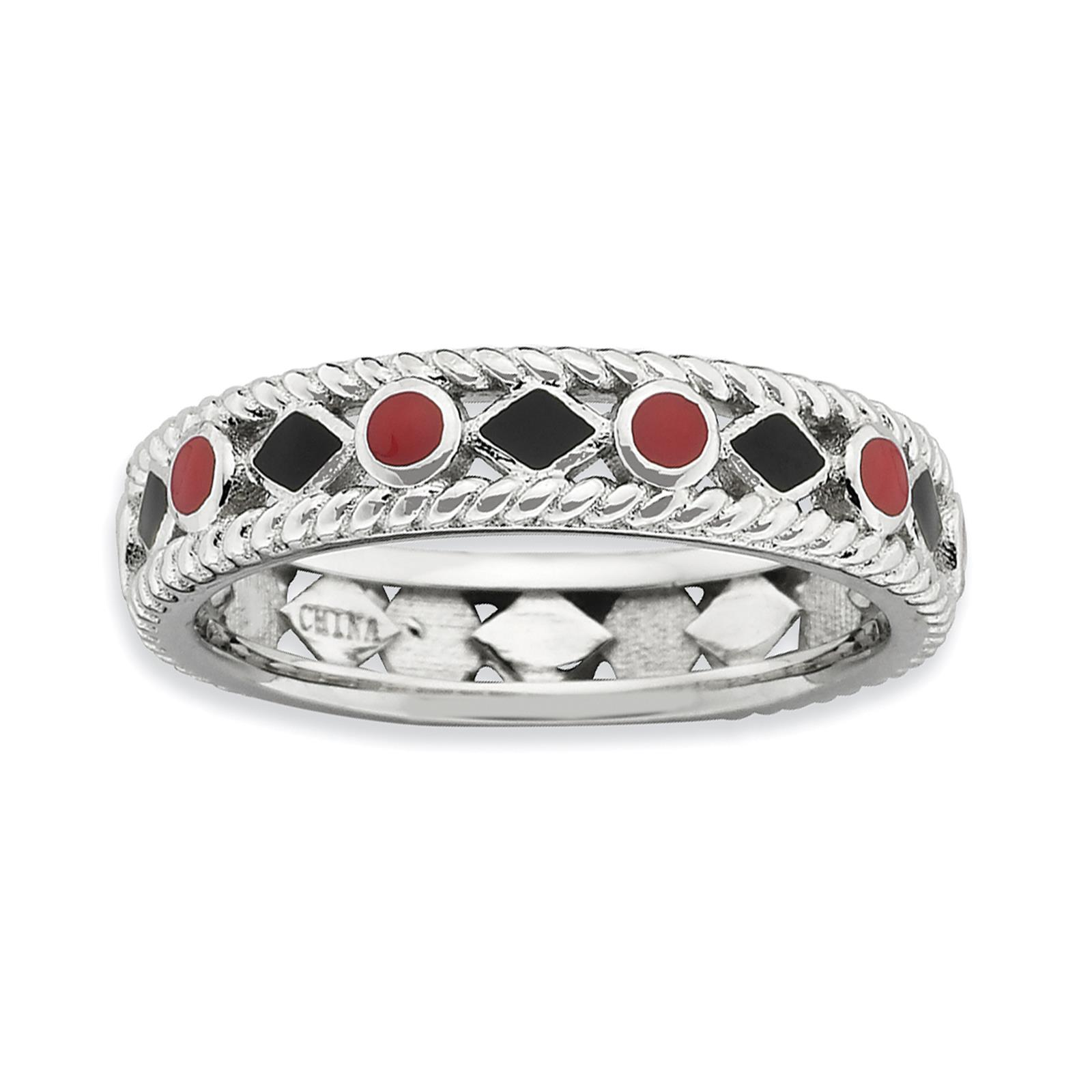 Stackable Expressions Sterling Silver Polished Red/Black Enameled Band Ring Sz10