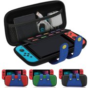 Carrying Storage Case for Nintendo Switch Console and Accessories, TSV Portable Hard Shell Travel Case Attractive Protective Mario Carrying Case Bag Pouch W/ 10 Game Card Slots, Zipper Design