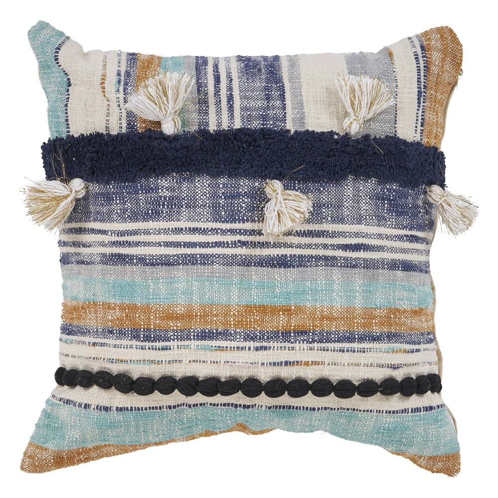 "LR Home Striped Patchwork Black Multi Throw Pillow ( 18"" x 18"" )"