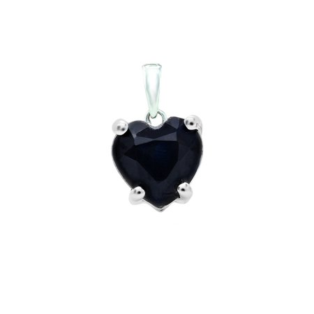 0.65 Carat (ctw) 10K White Gold Heart Cut Blue Sapphire Ladies Heart Shaped (10k Gold Heart Pendant)