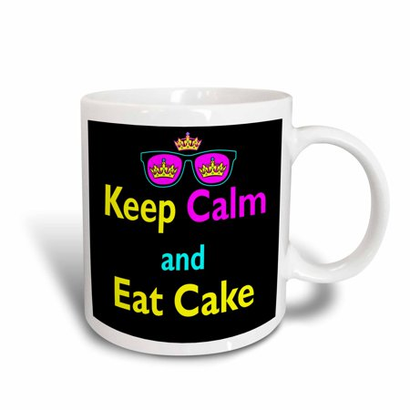 3dRose CMYK Keep Calm Parody Hipster Crown And Sunglasses Keep Calm And Eat Cake, Ceramic Mug, 11-ounce
