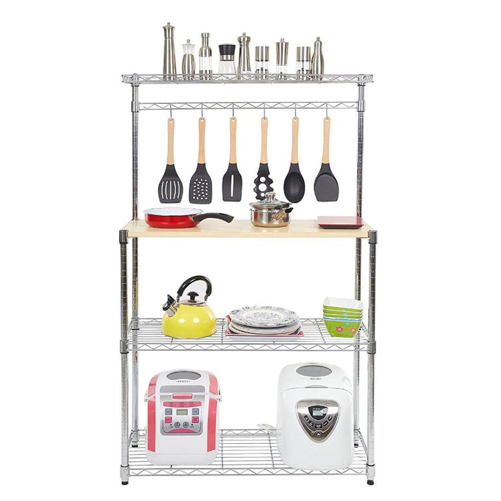 with 4 Hooks Guangshuohui Bakers Rack Microwave Rack,4Tier Kitchen Bakers Rack Microwave Oven Stand Storage Cart Workstation Shelf