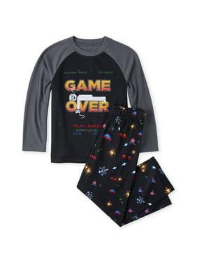 The Children's Place Long sleeve raglan printed 'game over' 2 piece pajama set (little boy & big boy)