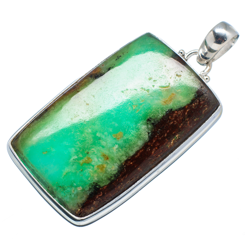 "Ana Silver Co Boulder Chrysoprase 925 Sterling Silver Pendant 2 1 4"" PD592320 by Ana Silver Co."