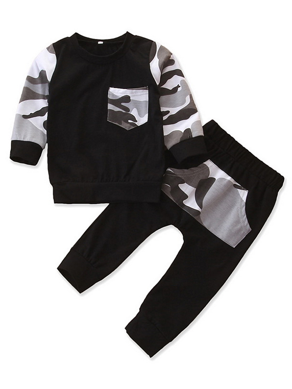 Baby Toddler Boys Fall Clothes Set Long Sleeve T-Shirt+Grey Jogger 2Pcs Outfit