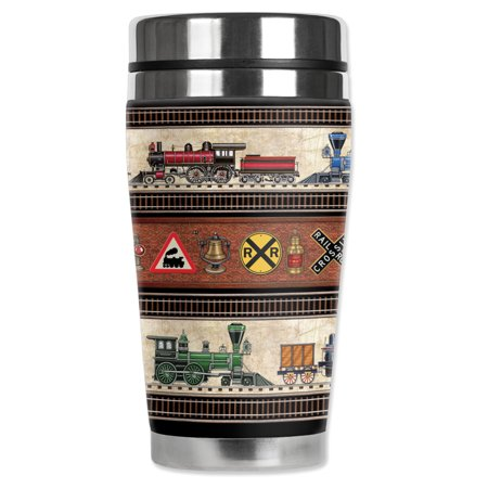"""Mugzie brand 20-Ounce """"MAX"""" Stainless Steel Travel Mug with Insulated Wetsuit Cover - Trains & Signs"""
