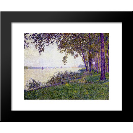 Upstream Framed - The Schelde Upstream from Antwerp After Fog 20x24 Framed Art Print by Theo van Rysselberghe