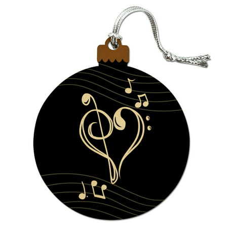 Treble Bass Clef Heart Music Black Wood Christmas Tree Holiday Ornament ()