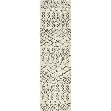 Taupe Kashan Rug - Unique Loom Geometric Rabat Shag Rug
