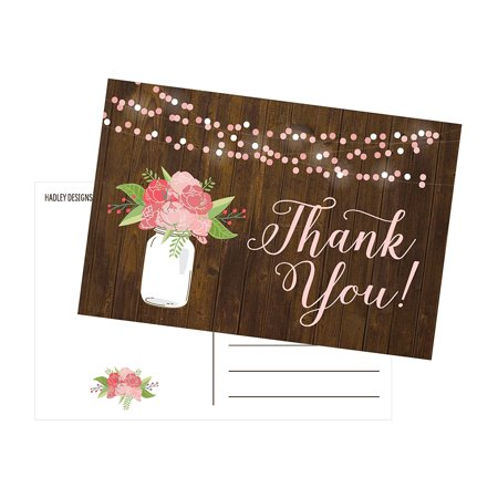 50 4x6 Rustic Floral Thank You Postcards Bulk, Modern Cute Flower Matte Blank Thank You Note Card Stationery For Wedding, Bridesmaid Bridal or Baby Shower, Teachers, Appreciation, Religious, - 4x6 Photo Insert Christmas Cards