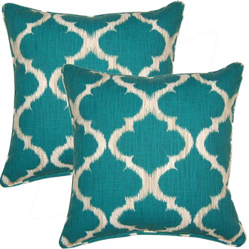 FHT Kobe Teal 17-inch Throw Pillows (Set of 2)