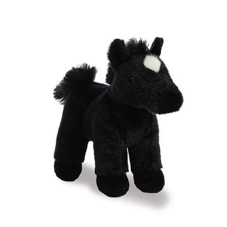 Midnight Black Horse 7 inch - Stuffed Animal by Aurora Plush (02492) - Stuffed Animal Horse