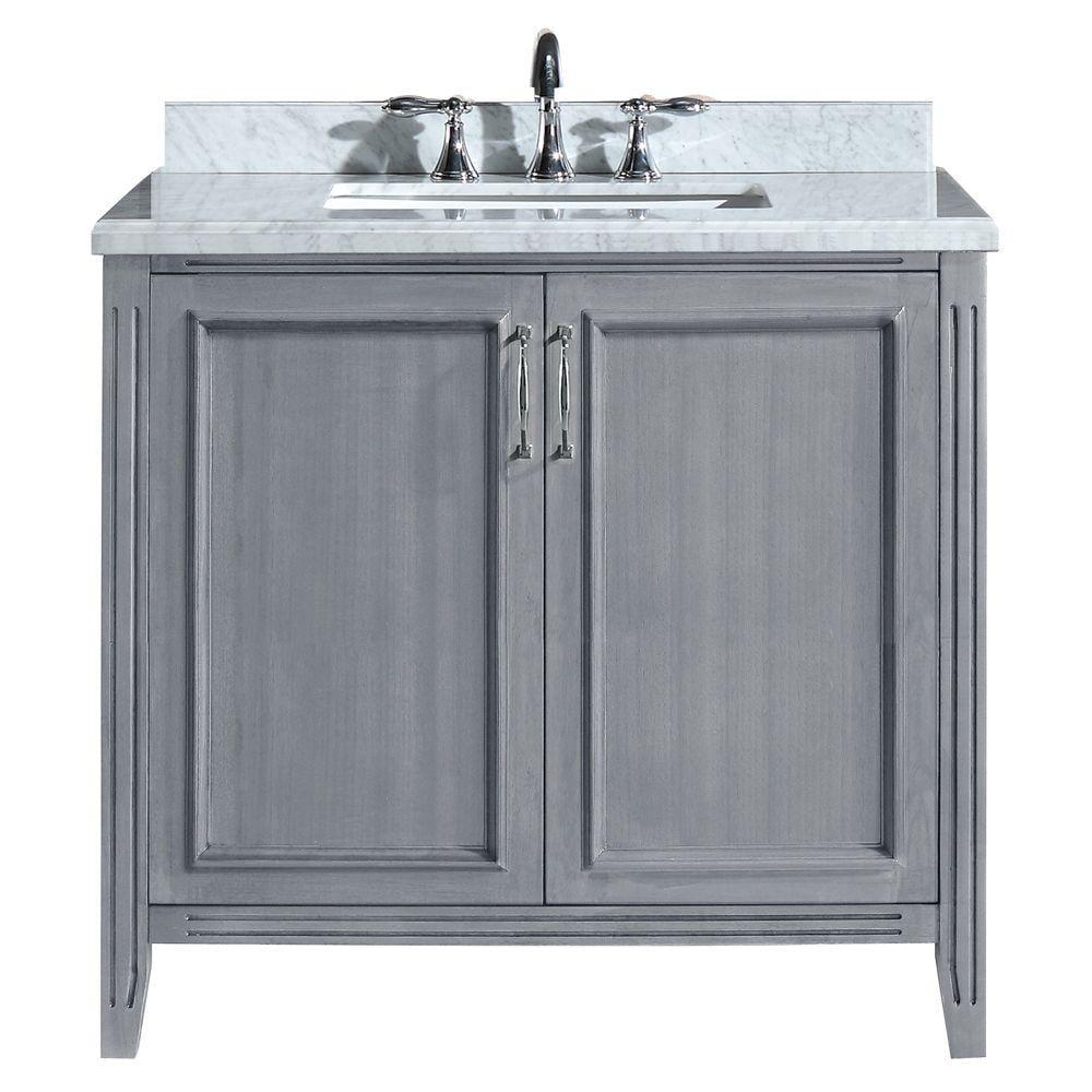 Marble Vanity Top In Carrara White, 36 Bathroom Vanities With Tops