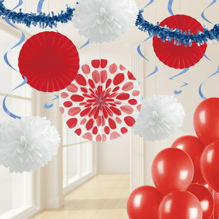Red, White and Blue Party Decorations Kit