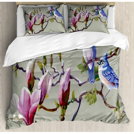 Magnolia Queen Size Duvet Cover Set, Waxwing Sparrow Birds Perching on Branches of Flower Tree Watercolor Technique, Decorative 3 Piece Bedding Set with 2 Pillow Shams, Multicolor, by Ambesonne