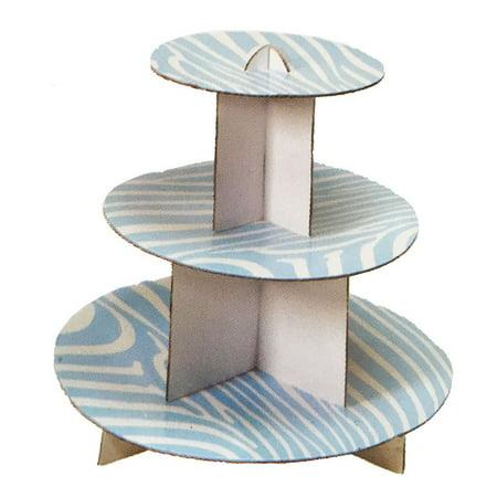Perfect Maze 3 Tier Round Baby Blue Zebra Print Dessert Tower Cupcake Stand - 1 Set of Individual Cupcake Stand ()